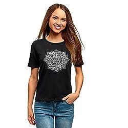 oodji Ultra Mujer Camiseta de Algodón con Estampado, Negro, ES 40 / M