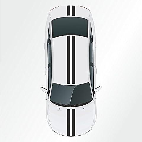 Kiwistar - Lote de 2 pegatinas decorativas para coche (10 x 400 cm), diseño de franjas deportivas