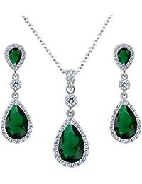 Clearine Women's 925 Sterling Silver Wedding Bridal Cubic Zirconia Infinity Teardrop Halo Pierced Dangle Earrings EYp2cN