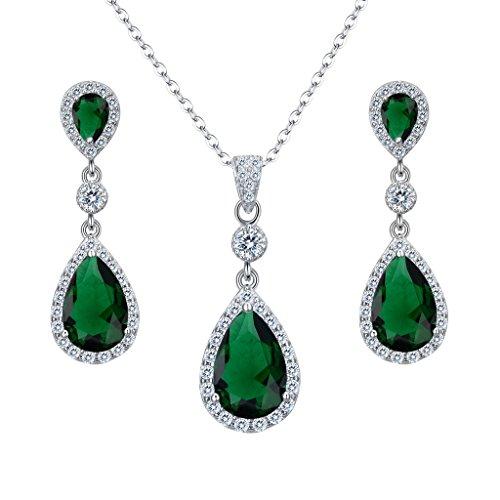 Clearine Damen 925 Sterling Silber Hochzeit Braut Cubic Zirconia Unendlichkeit Tropfen Anhänger Halskette Dangle Ohrringe Set Smaragd-farbe