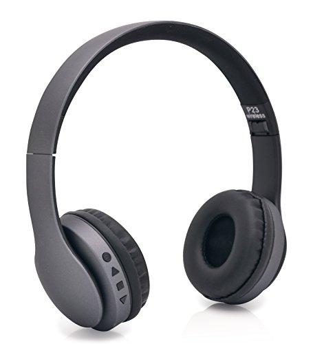 iProtect® Premium Wireless On-Ear Stereo Kopfhörer Bluetooth Headphones schwarz seidig matte Oberfläche für alle Modelle wie z.B. Sony, Samsung, LG, Huawei, HTC, uvm.– edles Design und hoher Tragekomfort (Premium-wireless-bluetooth)