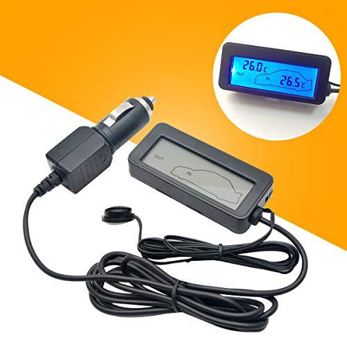 MASO Auto LCD Digital Thermometer 12V Blau Mini Auto Innen/Außen Thermometer mit Sonde