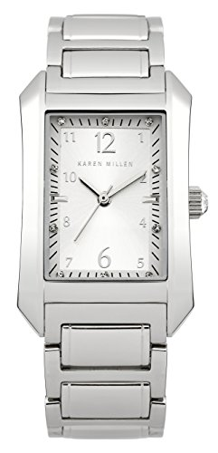 Karen-Millen-Womens-Quartz-Watch-with-Silver-Dial-Analogue-Display-and-Silver-Stainless-Steel-Bracelet-KM104SM