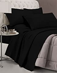 Idea Regalo - Italian Bed Linen CL-ST-nero-2P Completo Letto con Lenzuolo sopra, sotto e Federe in Tinta Unita Rigato, Raso di Poliestere, Nero, Matrimoniale, 300x250x1 cm