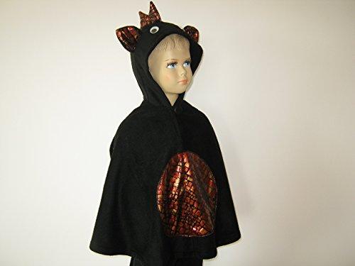 fasching karneval halloween kostüm cape für kleinkinder drache schwarz (Schwarz Drachen Kostüme)
