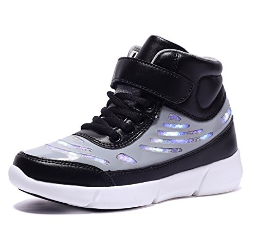 Ufatansy Kids LED Light up Trainers High Top Sneakers USB Charging Lace up Sport Shoes Breathable Running Shoes for Boys Girls
