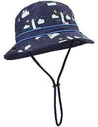 Lachi Sombrero Pescador de Sol para Niño Infantes 1-6 Años Algodón  Transpirable Ajustable con e8a7b74f4a5