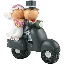 Mopec Y70 - Figura de pastel pareja de novios Pit & Pita en moto, 17 cm