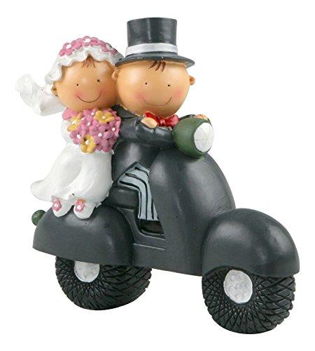 Figura de pastel pareja de novios en moto, 17 cm