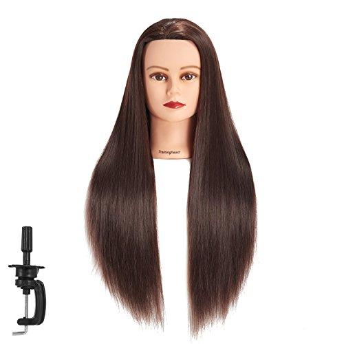 Cabeza de maniquí de pelo sintético de fibra sintética para entrenamiento de peluquería, modelo de entrenamiento con abrazadera (Brown)