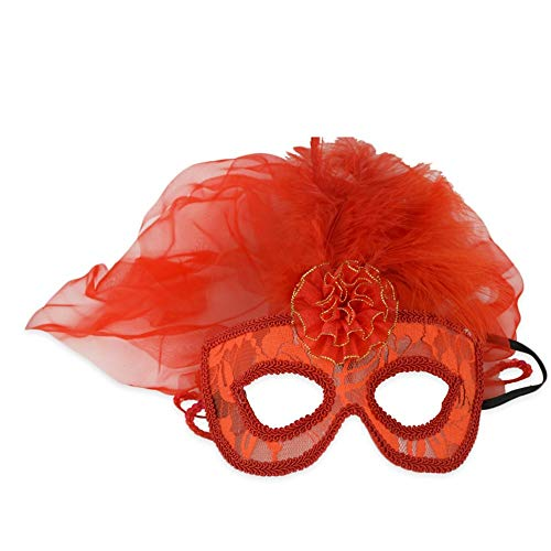 SCLMJ Halloween Party Masken Damen Rote Gaze Lace Halbe Gesichtsmaske Kostüm Party, Gules -
