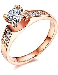 NewBox garras CZ cristal 18ct bañado en oro rosa Classic mujer compromiso anillos de boda