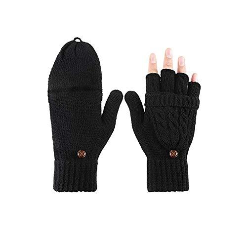 BOSSTER Damen Handschuhe Fingerlos Fingerlose Fäustlinge mit Geknöpfte Daumenabdeckung für Damen Mädchen