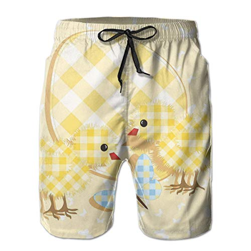 MIOMIOK Men Swim Trunks Beach Shorts,Abstract Chick Design with Plaid Pattern Butterfly Giant Egg Funny,Quick Dry 3D Printed Drawstring Casual Summer Surfing Board Shorts XL - Giant Plaid Shirt