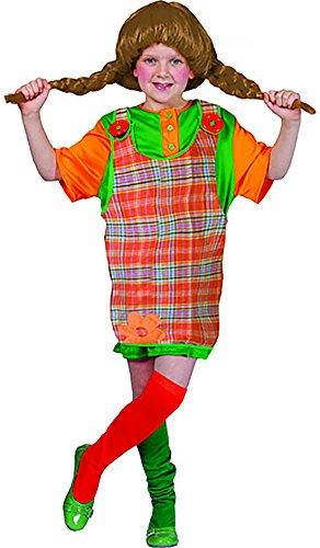 hen Pippi Langstrumpf Kostüm mit coolen Knöpfen, 140-146, 10-11 Jahre, Mehrfarbig (Pudel-rock-kostüm Mädchen)