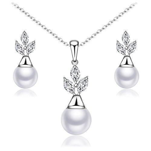 BiBeary Damen Zirconia simulierte Perle Freu Blume Braut einfach Ohrringe Halskette Schmuckset