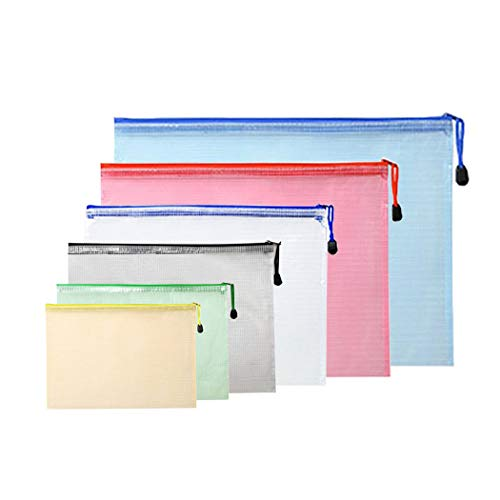 Yeelan 6pcs Zip-Datei Tasche Dokumententasche Datei Ordner Tasche Mesh-Speicher mit Reißverschluss für Zuhause/Büro/Business/Schule Studie(6 Größen,6 Farben)