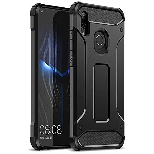 WE LOVE CASE Kompatibel mit Huawei P Smart 2019 Hülle Stoßfest Handyhülle Armor Serie PC+Silikon Dünn Doppelschichter Bumper Schutz Schutzhülle für Huawei P Smart 2019 Schwarz
