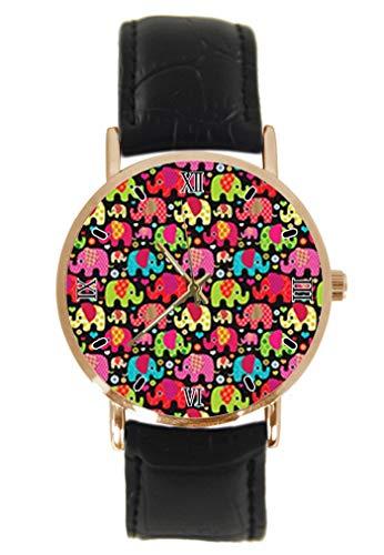 Reloj de Pulsera con diseño de Elefantes Coloridos, clásico, Unisex, analógico, de...