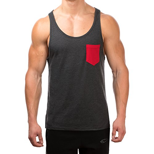 SMILODOX Tank Top Herren mit Brustasche | Muskelshirt ideal für Sport Gym Fitness & Bodybuilding | Muscle Shirt - Stringer - Tanktop - Unterhemd - Achselshirt, Größe:M, Farbe:Anthrazit/Rot