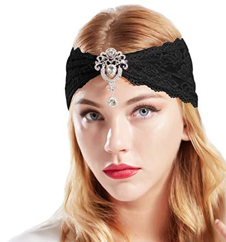 Coucoland Spitzen Haarband Damen Turban Hut mit Anhänger Kristall Brosche 1920s Stirnband Damen Exotisch Fasching Kostüm Accessoires (Schwarz)