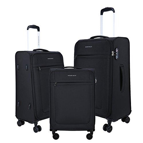 Nasher Miles Equator Soft Sided Ultra-Light (7.5 Kgs) Luggage Set of 3 Black Bags (45, 57 & 69 Cm)