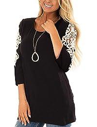 38-50 Damen Oversize Langarm Spitze Crochet Asymmetrische Tops Shirt Bluse