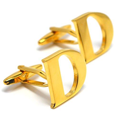 MESE London Buchstabe Name D Initiale Manschettenknöpfe 18 Karat Vergoldet in Luxus Geschenkbox