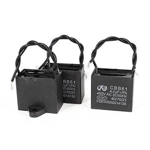 DealMux a14060400ux0586 2 Stück CBB61 450V 4uF Double Wire Leads Rechteck Non Polar AC Motorkondensator (2' Wire)