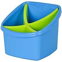 Bestecktrockner 2-teilig pastell-blau Ma/ße ca 12 x 12 x 13 cm Besteckkorb mit herausnehmbarem Einsatz Besteckk/örbchen zum Trocknen von Besteck