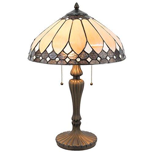 Lumilamp 5LL-5184 Tischleuchte Tischlampe Tiffany Stil Art Deco Natur/Braun Ø 41 * 60 cm / E27 / Max. 2x60 Watt handgefertigt Glasschirm dekoratives Buntglas Retro Antik Stil - Glasschirm Tischlampe