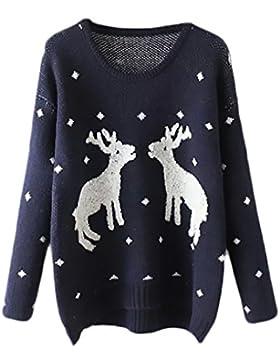 HX fashion Mujer Sweater Pullover De Punto Invierno Navideño Reno Estampadas Manga Larga Jersey Cuello Redondo...