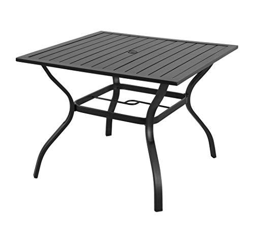Schwarz Schmiedeeisen Patio-möbel (EMERIT Esstisch für Terrasse, Bistro, Metall, mit Schirmloch 94 x 94 cm, Schwarz)