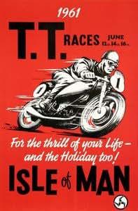 "Moonlizard Tt Isle Of Man Races Classic 8"" X 6"" Metal Sign"