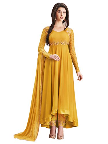 Amiira Latest Women's Faux Georgette Yellow Anarkali Gown (F1135-Gown_Yellow)