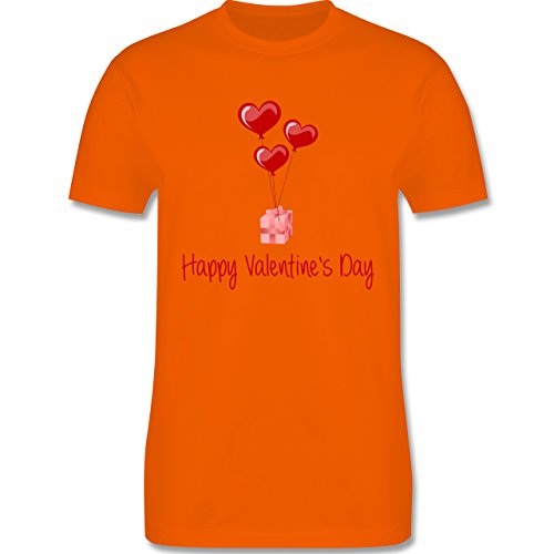 Valentinstag - Happy Valentine's Day Geschenk Herz Luftballon - Herren Premium T-Shirt Orange