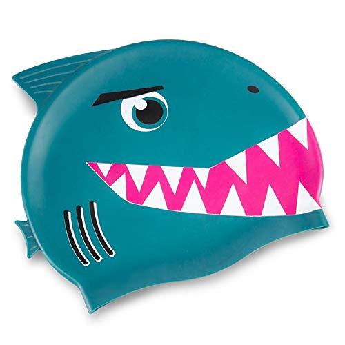 DONKEY Badekappe für Kinder aus Silikon - Schicke Badehaube mit Clownfisch/Hai Motiv - für Mädchen & Jungen - Super Stretch (Bitey)