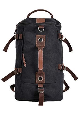 Outdoor Peak Herren Jungend hochwertige Canvas Tasche Trommel-Tasche modisch Fitness-Rucksack Umhängetasche praktische Reisetasche (schwarz)