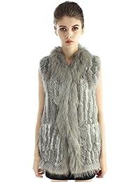 Chaleco tejido sin mangas de la piel de conejo para inverno cálido