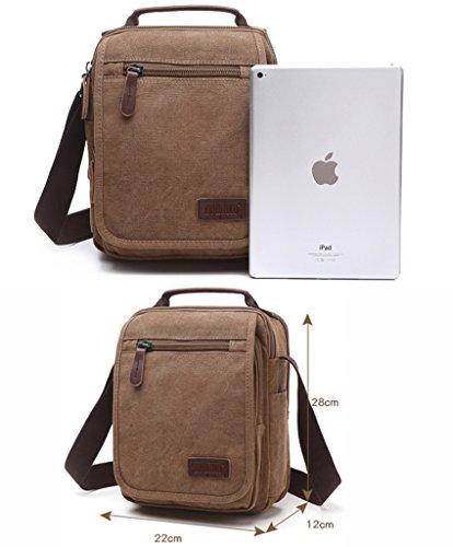 Super moderno tela messenger a tracolla con tracolla borsa bauletto Bookbag School bag, borsa per uomini e donne, Uomo, 8858 Khaki 8858 Black