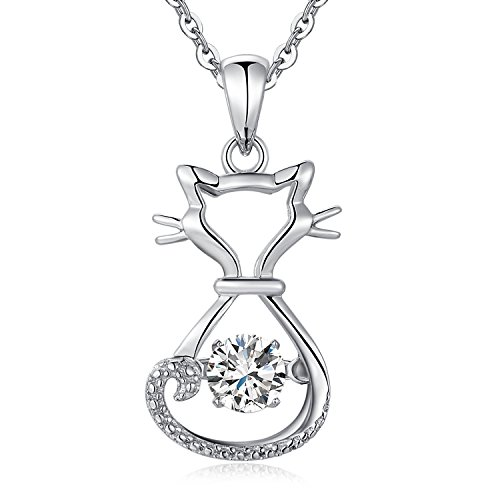 Sterling Silver Diamond Cat Pendant Necklace, Dancing CZ Diamond Cat Necklace, Moving Diamond Cat Pendant, Cute Cat Necklace For Women Girl, 18'' Silver Necklace