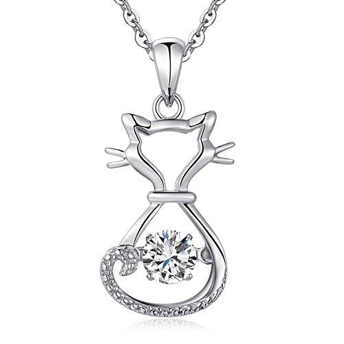 jiamiaoi Katze Halskette,Frech Niedlich Glückliche Katze Anhänger Halskette, Silber Halskette mit Katze Anhänger für Frauen,Damen Mode Katzen Anhänger,Silber Katze Kette,Süße Tanzen Katze Halskette - Frauen Machen, Lachen Zu Wie Die