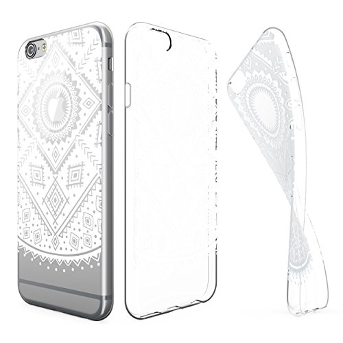 Urcover® Apple iPhone 6 Plus / 6s Plus Hülle | Trend Fashion | TPU in Welle | Zubehör Tasche Case Handy-Cover Schutz-Hülle Schale Muster Ethno Weiß