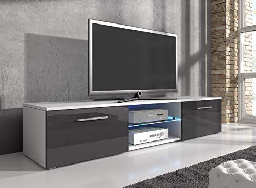 E-Com - Meuble TV 'Samuel' 150 cm Blanc Mat Avec Façade Grise Brillante Et Lumières LED Bleues