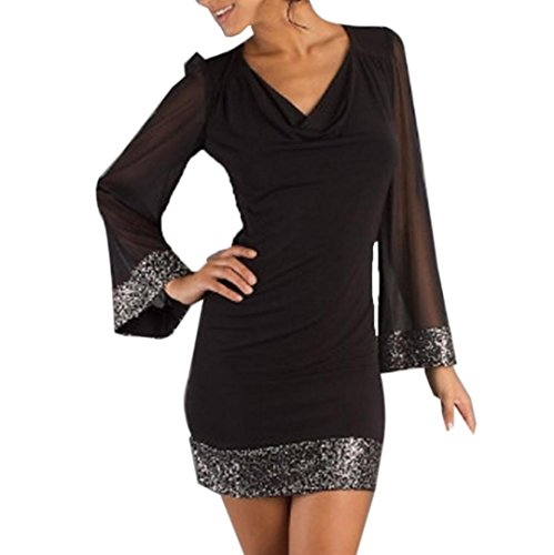 MCYs damski Frauen Casual V-Ausschnitt Spitze Transparent Pailletten Langarm Nähen Schwarz Minikleid (S) (Inset-v-ausschnitt)