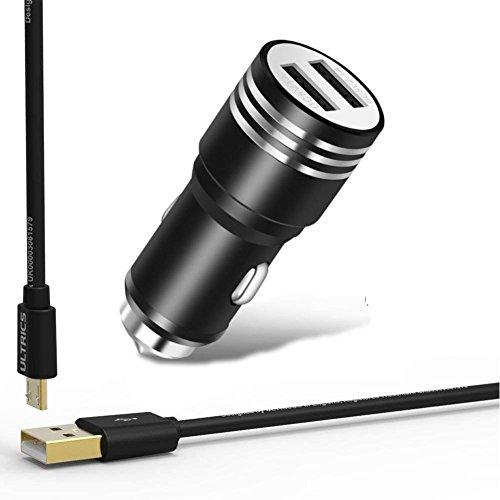 Ultrics caricatore auto doppio usb, caricabatteria da auto 2 porte quick charge car charger adattatore con cavo micro usb per apple ipad iphone xs max / x / 8 / 7, samsung s9 s8 plus, tablet e altro