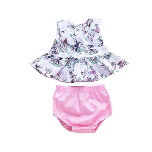 Bekleidung Longra Babykleidung Sommer, Baby Mädchen Outfits Kleidung T-Shirt Tops + Hosen + Stirnband Set(0-24Monate) (66-70CM 6Monate,...