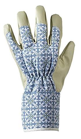 Frauen/Damen Marokkanischen Fliese Gartenarbeit Handschuhe Blumendruck Mit Erweiterten Manschetten, Eine Größe Medium