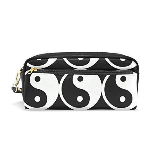 ahomy schwarz und weiß Symbol Bleistift Fällen für Mädchen und Jungen, Stift Tasche Stationery Make-up Tasche Geldbörse groß Kapazität Wasserdicht für Frauen -