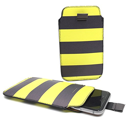 Handy Hülle Slide Tasche Etui Case Schutzhülle Bumper Cover Sleeve Universal Neu, Motive:Gelb / Schwarz, Handymodell:Gionee Ctrl V5